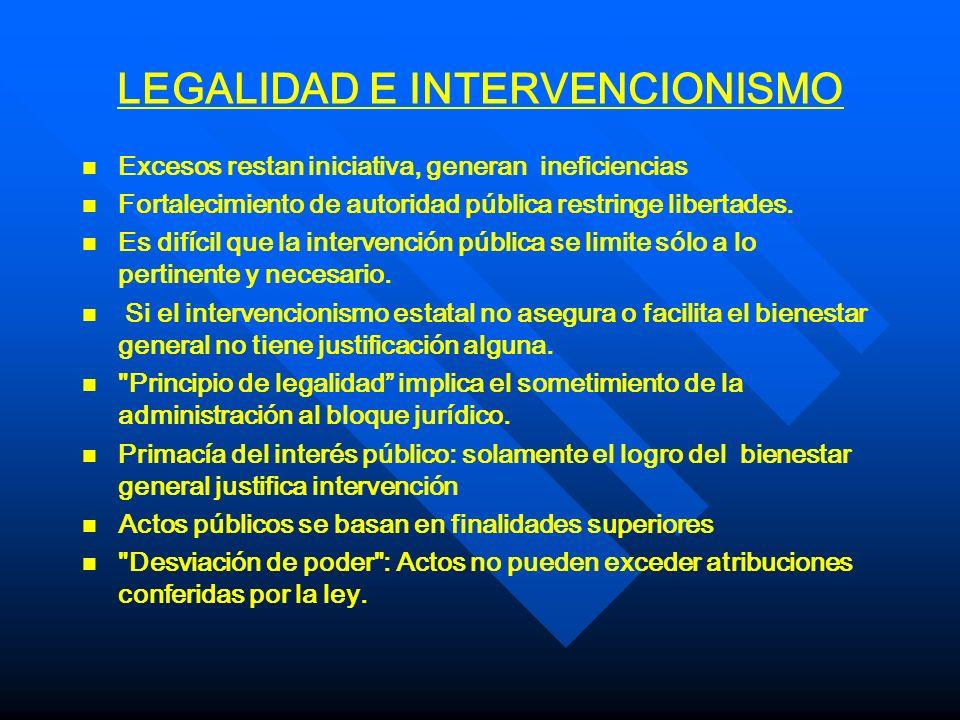 LEGALIDAD E INTERVENCIONISMO n n Excesos restan iniciativa, generan ineficiencias n n Fortalecimiento de autoridad pública restringe libertades. n n E