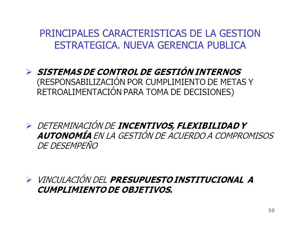 10 PRINCIPALES CARACTERISTICAS DE LA GESTION ESTRATEGICA. NUEVA GERENCIA PUBLICA SISTEMAS DE CONTROL DE GESTIÓN INTERNOS (RESPONSABILIZACIÓN POR CUMPL