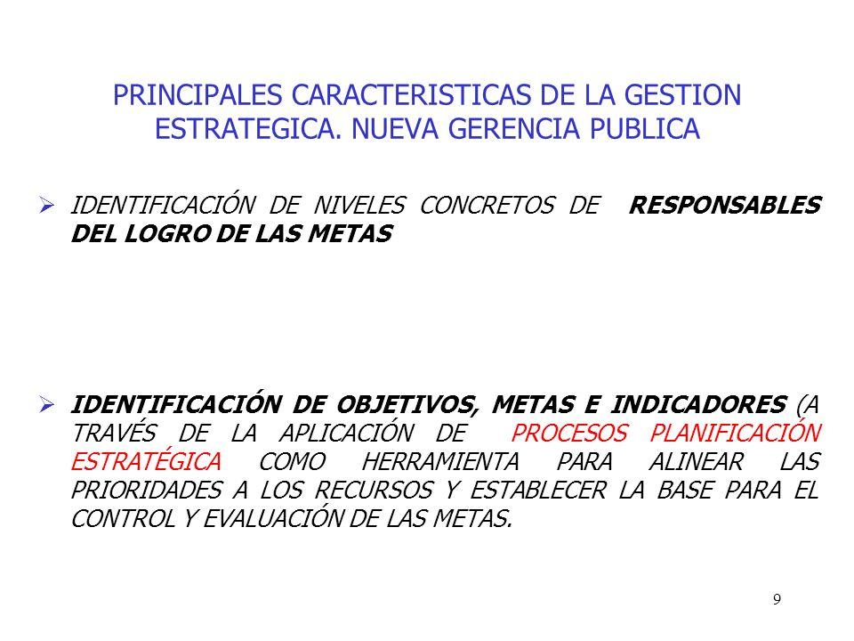 9 PRINCIPALES CARACTERISTICAS DE LA GESTION ESTRATEGICA. NUEVA GERENCIA PUBLICA IDENTIFICACIÓN DE NIVELES CONCRETOS DE RESPONSABLES DEL LOGRO DE LAS M