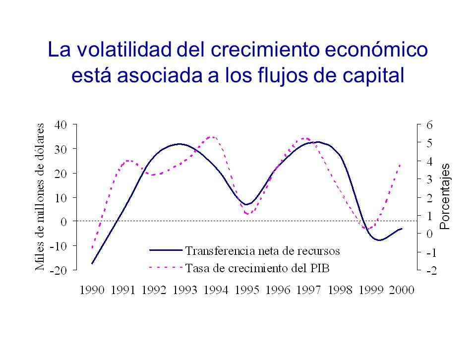 La volatilidad del crecimiento económico está asociada a los flujos de capital
