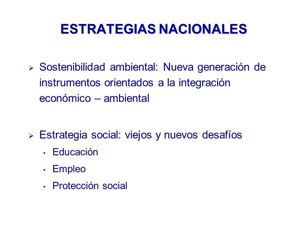 ESTRATEGIAS NACIONALES Sostenibilidad ambiental: Nueva generación de instrumentos orientados a la integración económico – ambiental Estrategia social: viejos y nuevos desafíos Educación Empleo Protección social