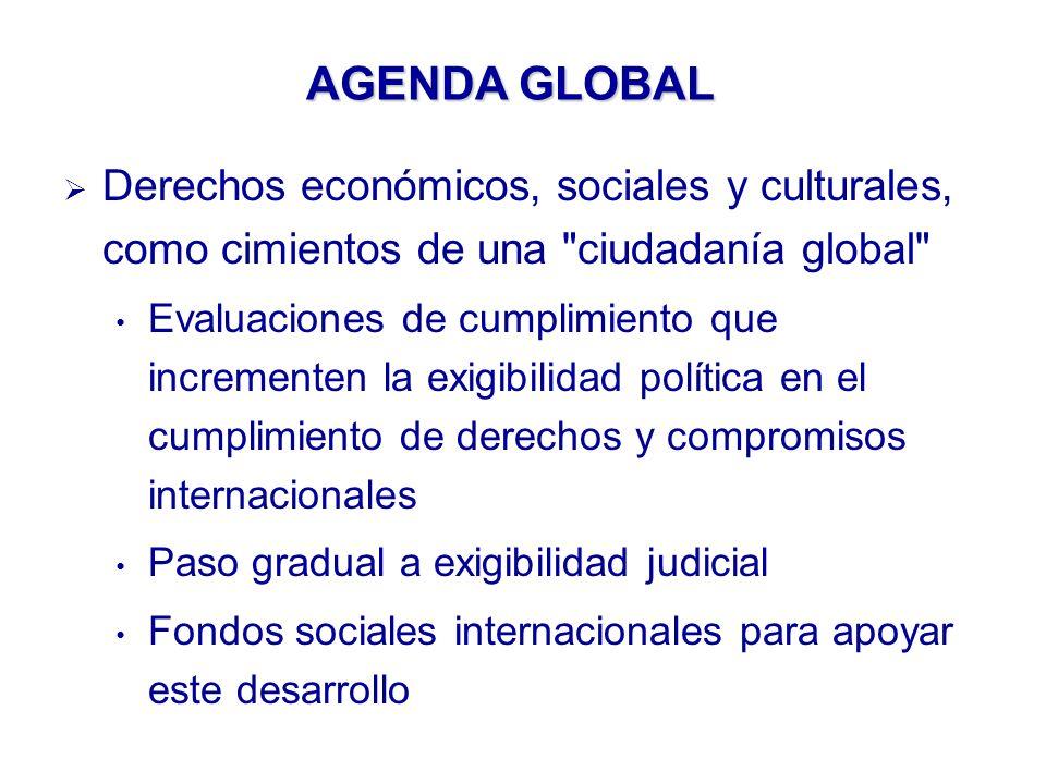 AGENDA GLOBAL Derechos económicos, sociales y culturales, como cimientos de una ciudadanía global Evaluaciones de cumplimiento que incrementen la exigibilidad política en el cumplimiento de derechos y compromisos internacionales Paso gradual a exigibilidad judicial Fondos sociales internacionales para apoyar este desarrollo