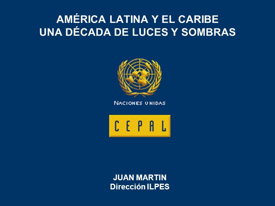 AMÉRICA LATINA Y EL CARIBE UNA DÉCADA DE LUCES Y SOMBRAS JUAN MARTIN Dirección ILPES
