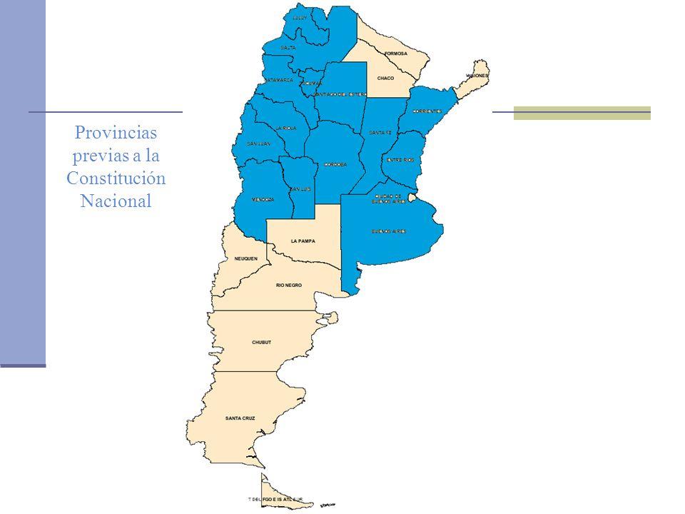 Oficina de la CEPAL en Buenos Aires Provincias previas a la Constitución Nacional Provincias creadas durante los cincuenta