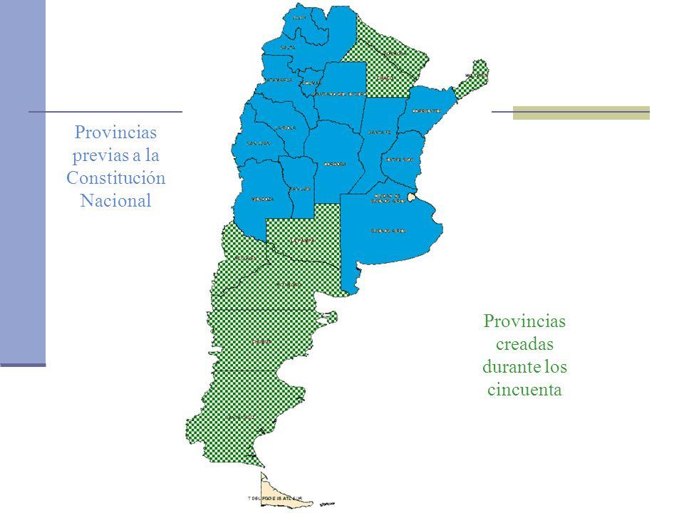 Oficina de la CEPAL en Buenos Aires Provincias previas a la Constitución Nacional Provincias creadas durante los cincuenta Provincias creadas durante los noventa