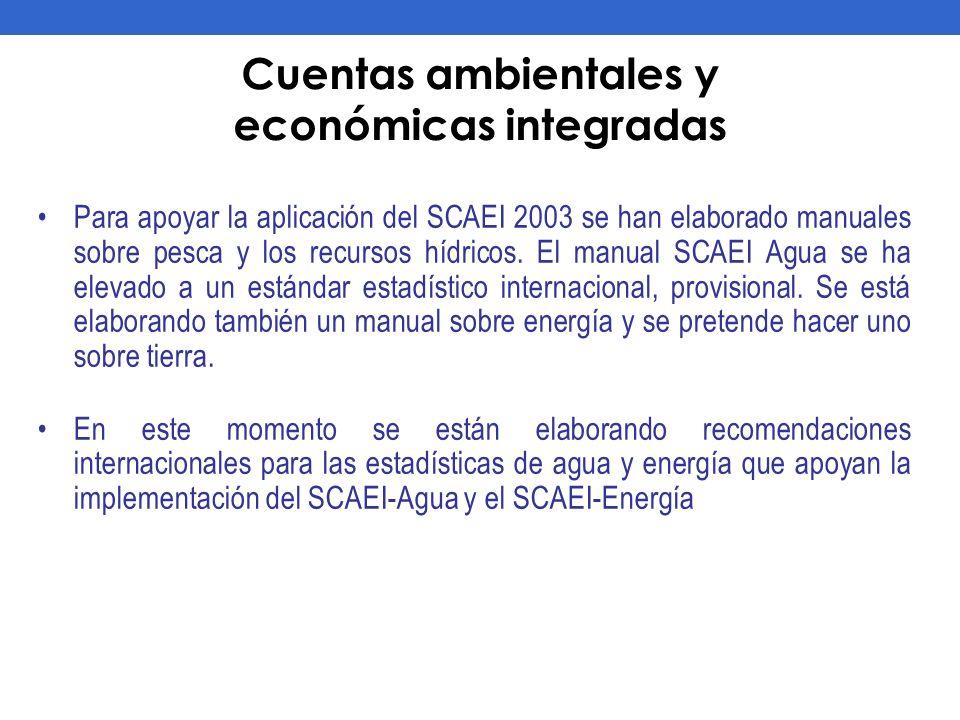 Cuentas ambientales y económicas integradas Para apoyar la aplicación del SCAEI 2003 se han elaborado manuales sobre pesca y los recursos hídricos. El