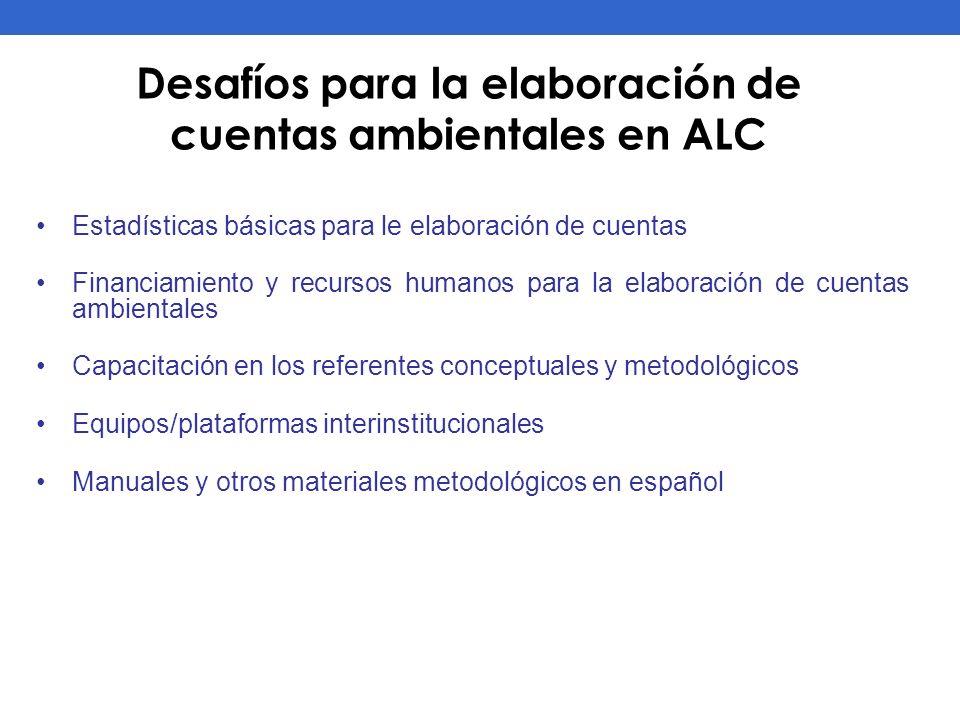 Desafíos para la elaboración de cuentas ambientales en ALC Estadísticas básicas para le elaboración de cuentas Financiamiento y recursos humanos para