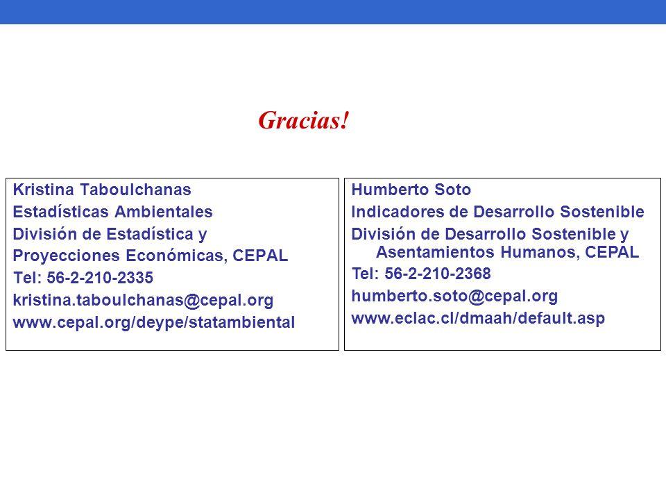 Kristina Taboulchanas Estadísticas Ambientales División de Estadística y Proyecciones Económicas, CEPAL Tel: 56-2-210-2335 kristina.taboulchanas@cepal