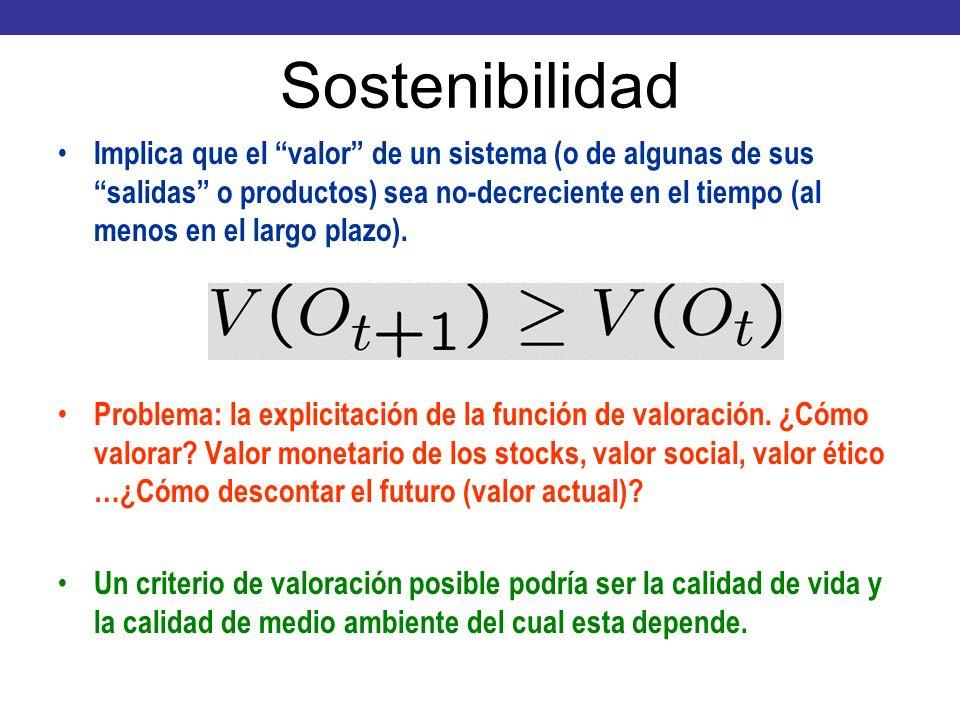 Sostenibilidad Implica que el valor de un sistema (o de algunas de sus salidas o productos) sea no-decreciente en el tiempo (al menos en el largo plaz