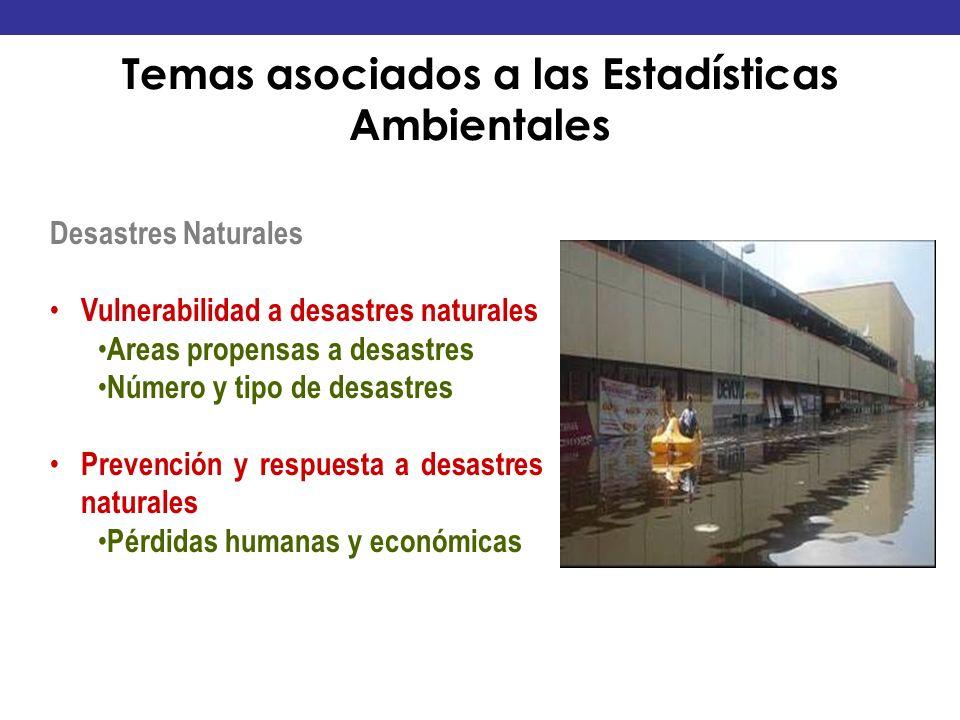 Desastres Naturales Vulnerabilidad a desastres naturales Areas propensas a desastres Número y tipo de desastres Prevención y respuesta a desastres nat