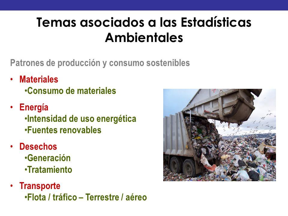 Patrones de producción y consumo sostenibles Materiales Consumo de materiales Energía Intensidad de uso energética Fuentes renovables Desechos Generac