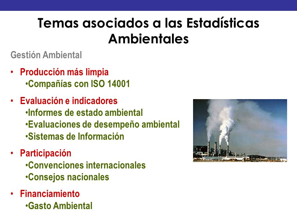 Gestión Ambiental Producción más limpia Compañías con ISO 14001 Evaluación e indicadores Informes de estado ambiental Evaluaciones de desempeño ambien