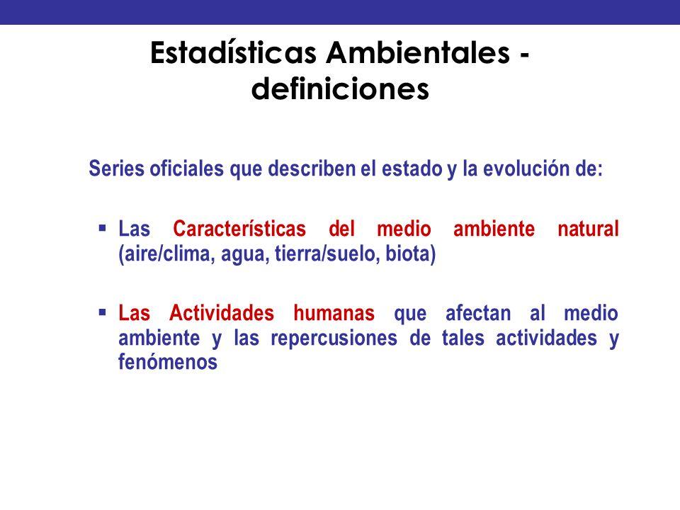 Estadísticas Ambientales - definiciones Series oficiales que describen el estado y la evolución de: Las Características del medio ambiente natural (ai