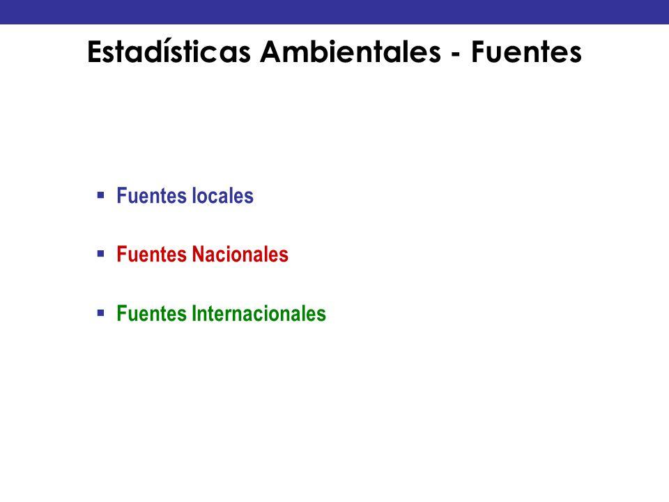 Estadísticas Ambientales - Fuentes Fuentes locales Fuentes Nacionales Fuentes Internacionales