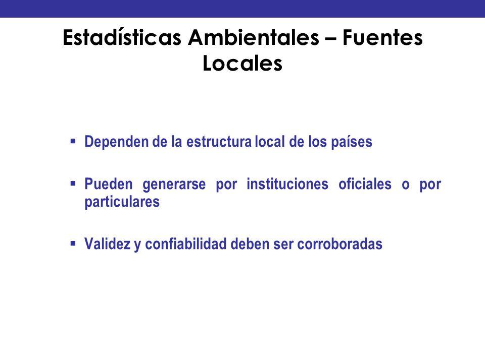 Estadísticas Ambientales – Fuentes Locales Dependen de la estructura local de los países Pueden generarse por instituciones oficiales o por particular