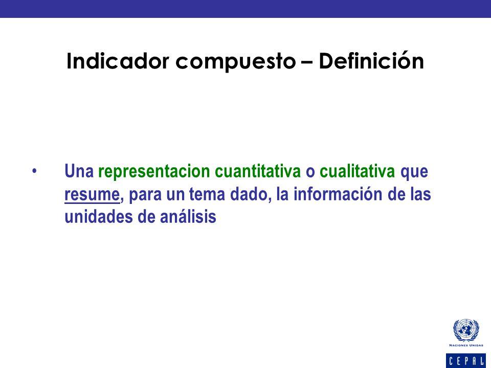 Indicador compuesto – Definición Una representacion cuantitativa o cualitativa que resume, para un tema dado, la información de las unidades de anális