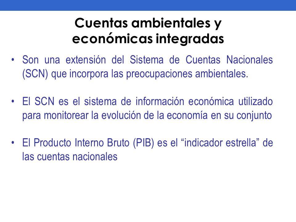Cuentas ambientales y económicas integradas Son una extensión del Sistema de Cuentas Nacionales (SCN) que incorpora las preocupaciones ambientales. El