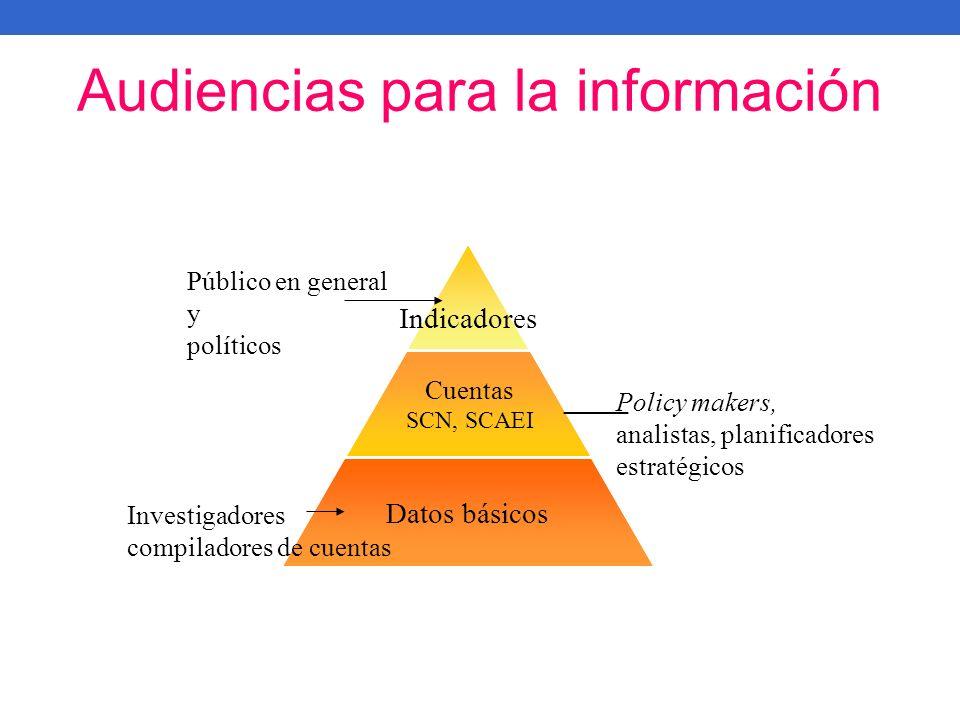 Audiencias para la información Cuentas SCN, SCAEI Policy makers, analistas, planificadores estratégicos Público en general y políticos Investigadores