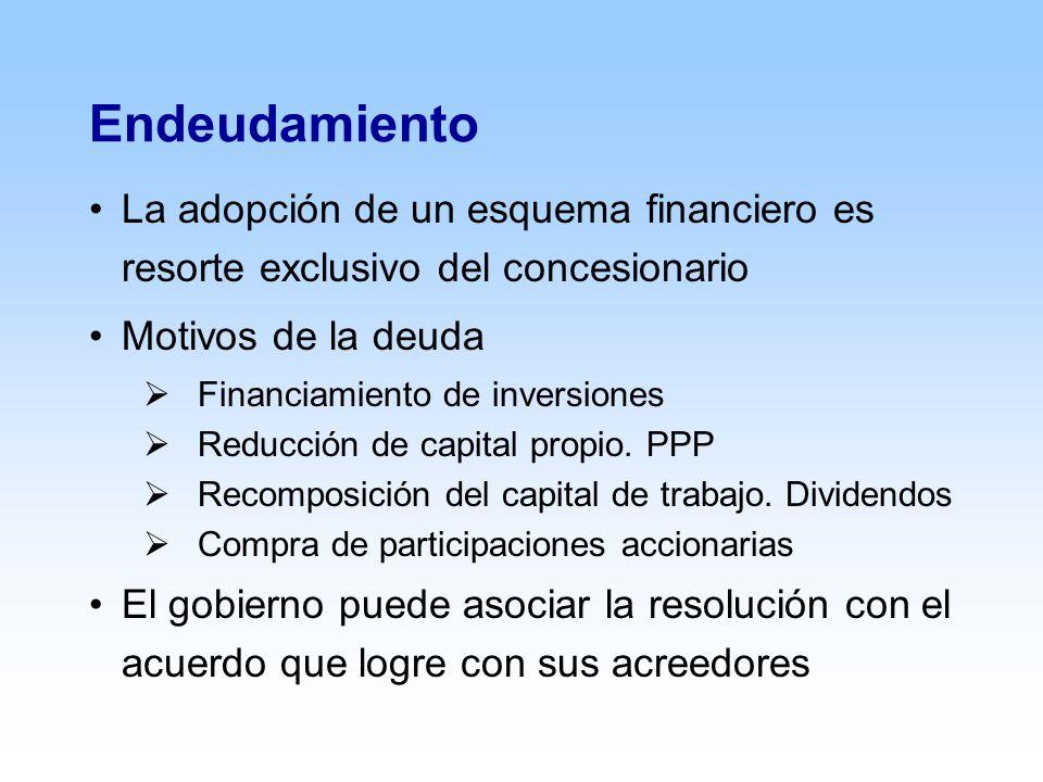 Endeudamiento La adopción de un esquema financiero es resorte exclusivo del concesionario Motivos de la deuda Financiamiento de inversiones Reducción de capital propio.