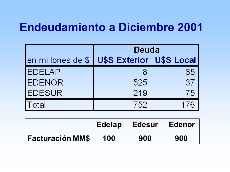 Endeudamiento a Diciembre 2001 Edelap Edesur Edenor Facturación MM$ 100 900 900