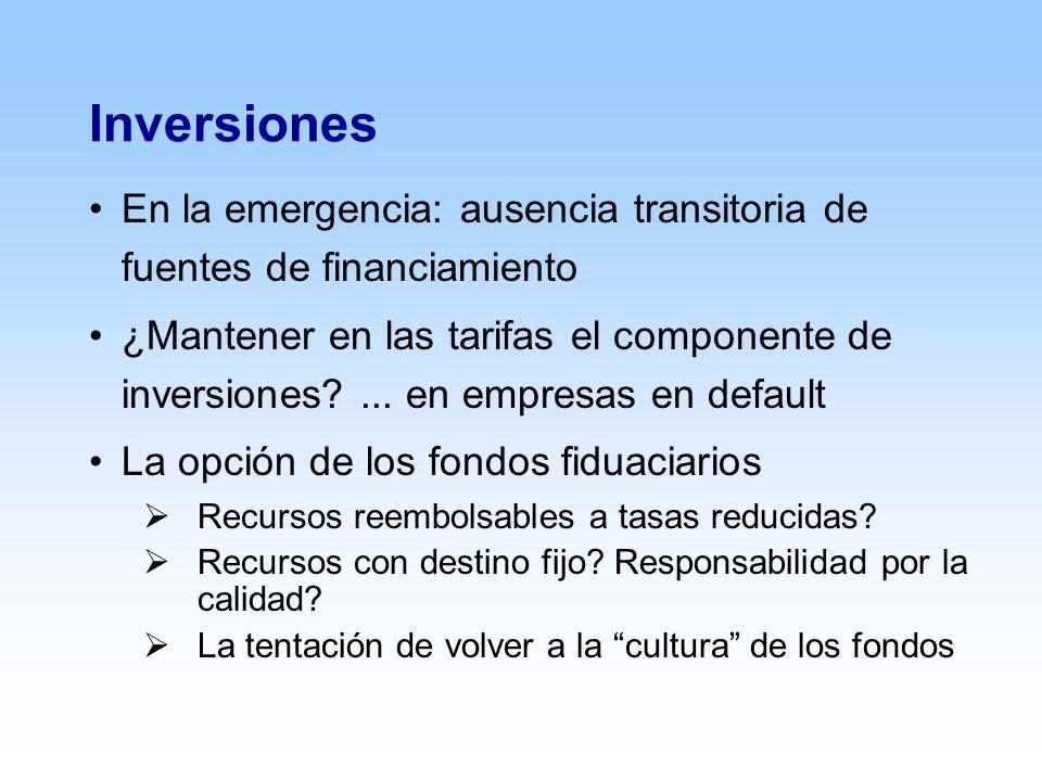 Inversiones En la emergencia: ausencia transitoria de fuentes de financiamiento ¿Mantener en las tarifas el componente de inversiones ...