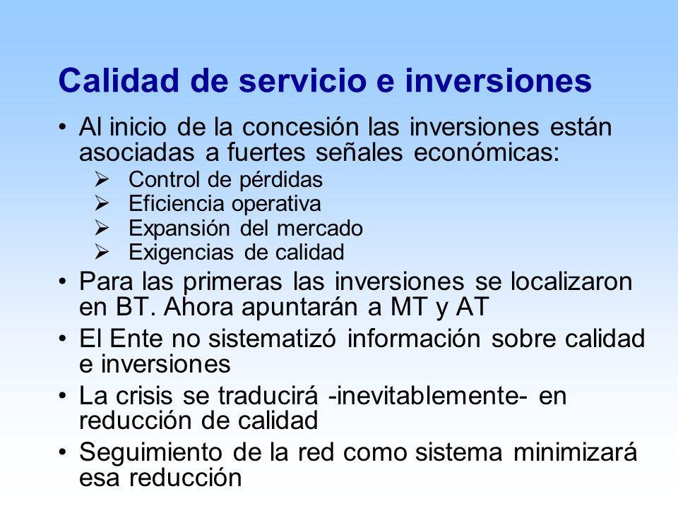 Calidad de servicio e inversiones Al inicio de la concesión las inversiones están asociadas a fuertes señales económicas: Control de pérdidas Eficiencia operativa Expansión del mercado Exigencias de calidad Para las primeras las inversiones se localizaron en BT.