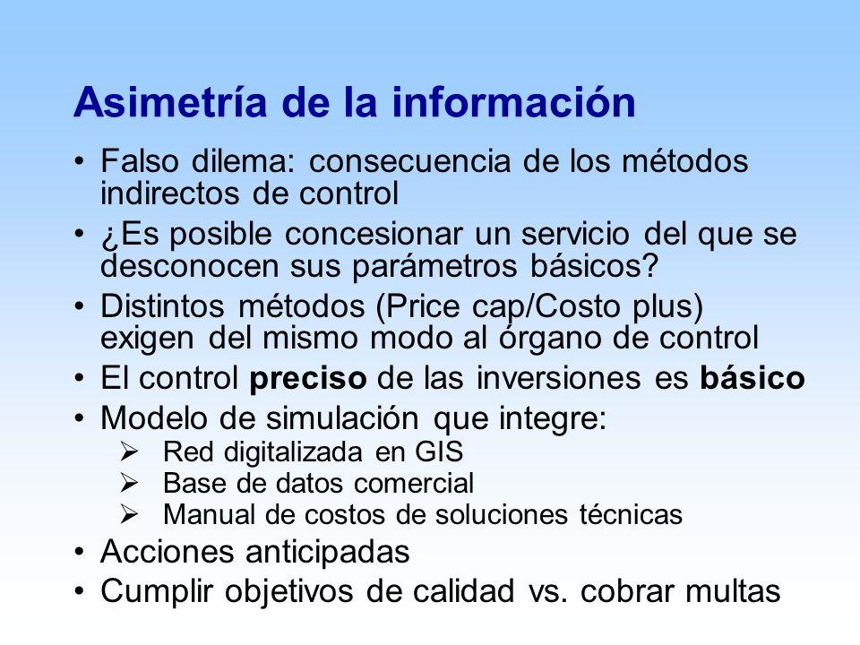 Asimetría de la información Falso dilema: consecuencia de los métodos indirectos de control ¿Es posible concesionar un servicio del que se desconocen sus parámetros básicos.