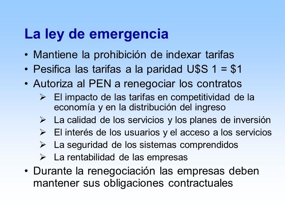 La ley de emergencia Mantiene la prohibición de indexar tarifas Pesifica las tarifas a la paridad U$S 1 = $1 Autoriza al PEN a renegociar los contratos El impacto de las tarifas en competitividad de la economía y en la distribución del ingreso La calidad de los servicios y los planes de inversión El interés de los usuarios y el acceso a los servicios La seguridad de los sistemas comprendidos La rentabilidad de las empresas Durante la renegociación las empresas deben mantener sus obligaciones contractuales