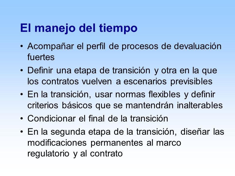 El manejo del tiempo Acompañar el perfil de procesos de devaluación fuertes Definir una etapa de transición y otra en la que los contratos vuelven a escenarios previsibles En la transición, usar normas flexibles y definir criterios básicos que se mantendrán inalterables Condicionar el final de la transición En la segunda etapa de la transición, diseñar las modificaciones permanentes al marco regulatorio y al contrato