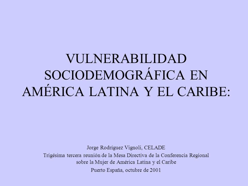 ESQUEMA DE LA PRESENTACIÓN Introducción Vulnerabilidad social Vulnerabilidad sociodemográfica Descripción estilizada de la situación en América Latina y el Caribe Insumos para política y conclusiones