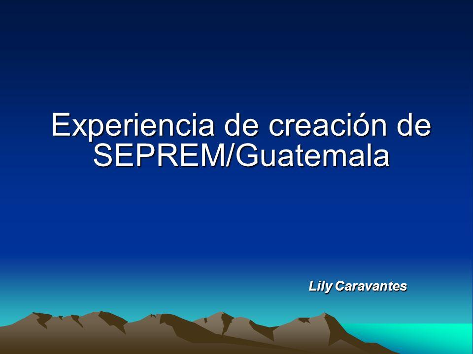 Experiencia de creación de SEPREM/Guatemala Lily Caravantes Lily Caravantes