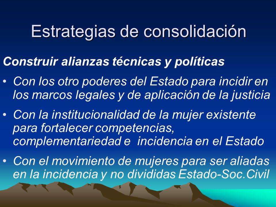 Estrategias de consolidación Construir alianzas técnicas y políticas Con los otro poderes del Estado para incidir en los marcos legales y de aplicació