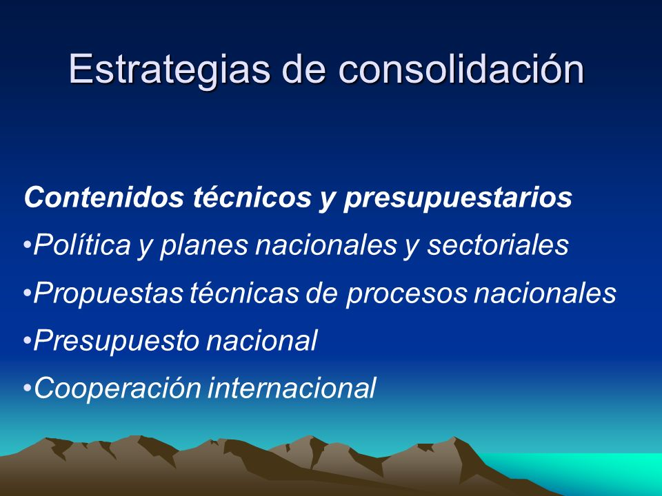 Estrategias de consolidación Contenidos técnicos y presupuestarios Política y planes nacionales y sectoriales Propuestas técnicas de procesos nacional