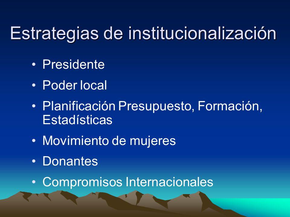 Estrategias de institucionalización Presidente Poder local Planificación Presupuesto, Formación, Estadísticas Movimiento de mujeres Donantes Compromis