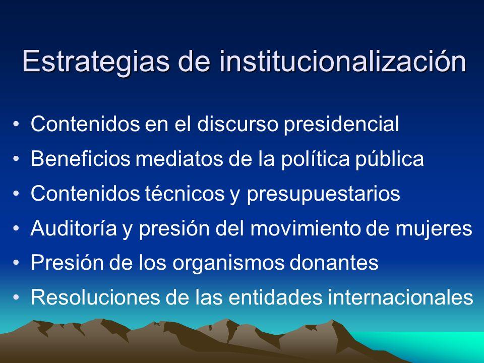 Estrategias de institucionalización Contenidos en el discurso presidencial Beneficios mediatos de la política pública Contenidos técnicos y presupuest