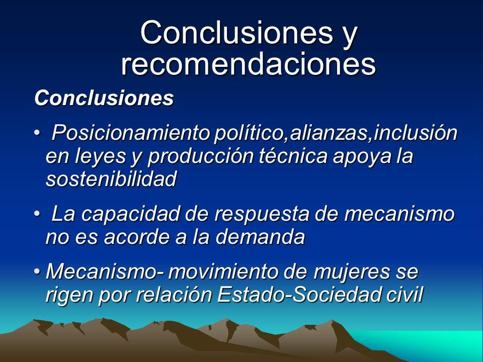 Conclusiones y recomendaciones Conclusiones Posicionamiento político,alianzas,inclusión en leyes y producción técnica apoya la sostenibilidad Posicion