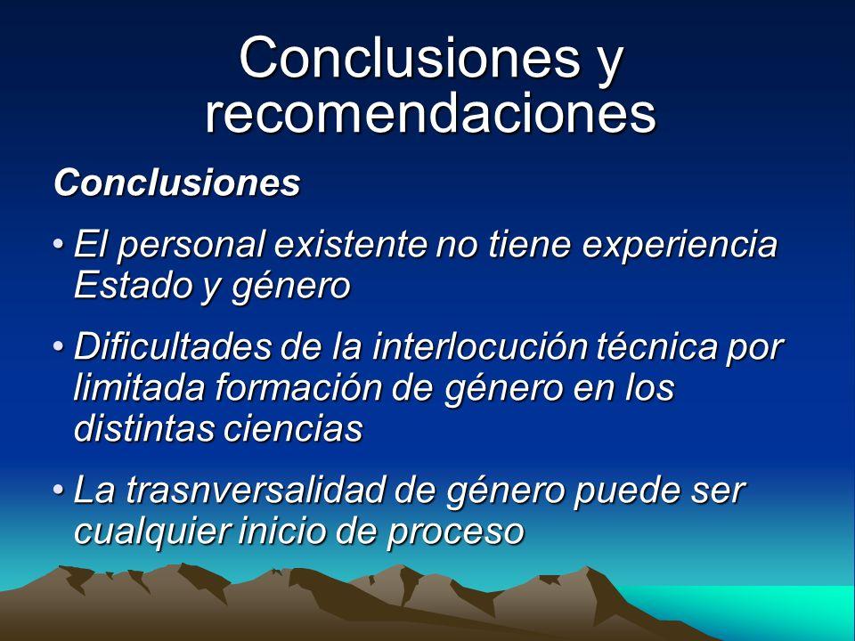 Conclusiones y recomendaciones Conclusiones El personal existente no tiene experiencia Estado y géneroEl personal existente no tiene experiencia Estad