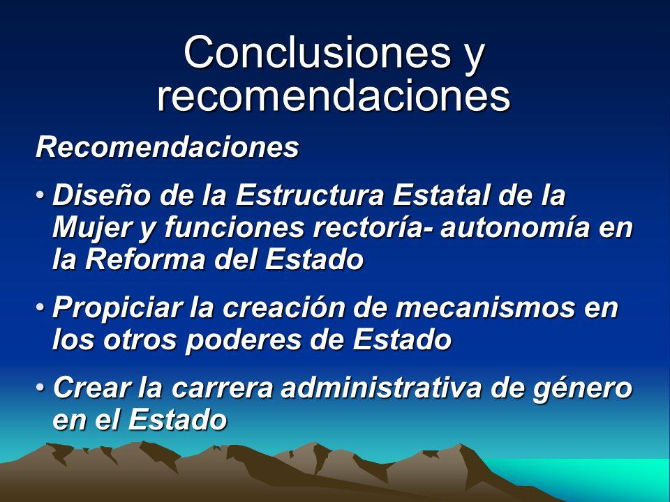 Conclusiones y recomendaciones Recomendaciones Diseño de la Estructura Estatal de la Mujer y funciones rectoría- autonomía en la Reforma del EstadoDis