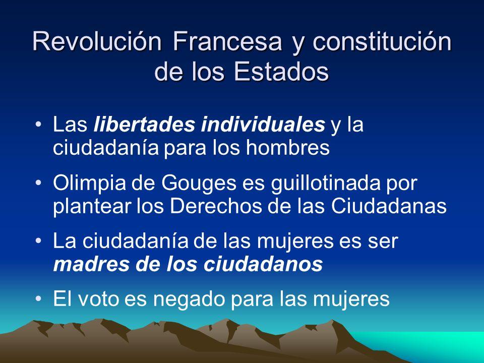 Revolución Francesa y constitución de los Estados Las libertades individuales y la ciudadanía para los hombres Olimpia de Gouges es guillotinada por p