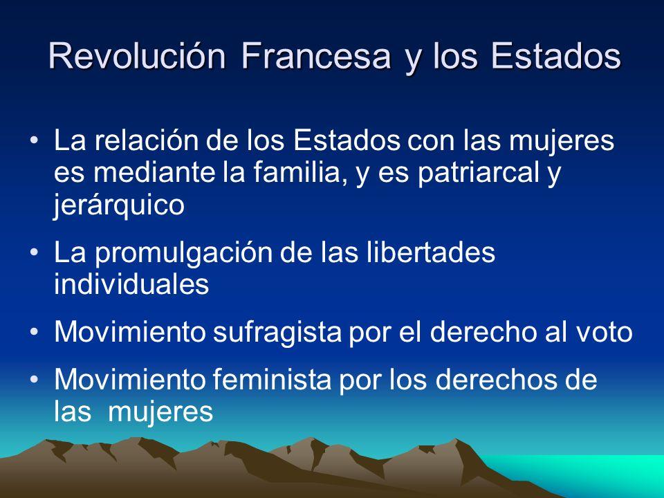 Revolución Francesa y los Estados La relación de los Estados con las mujeres es mediante la familia, y es patriarcal y jerárquico La promulgación de l