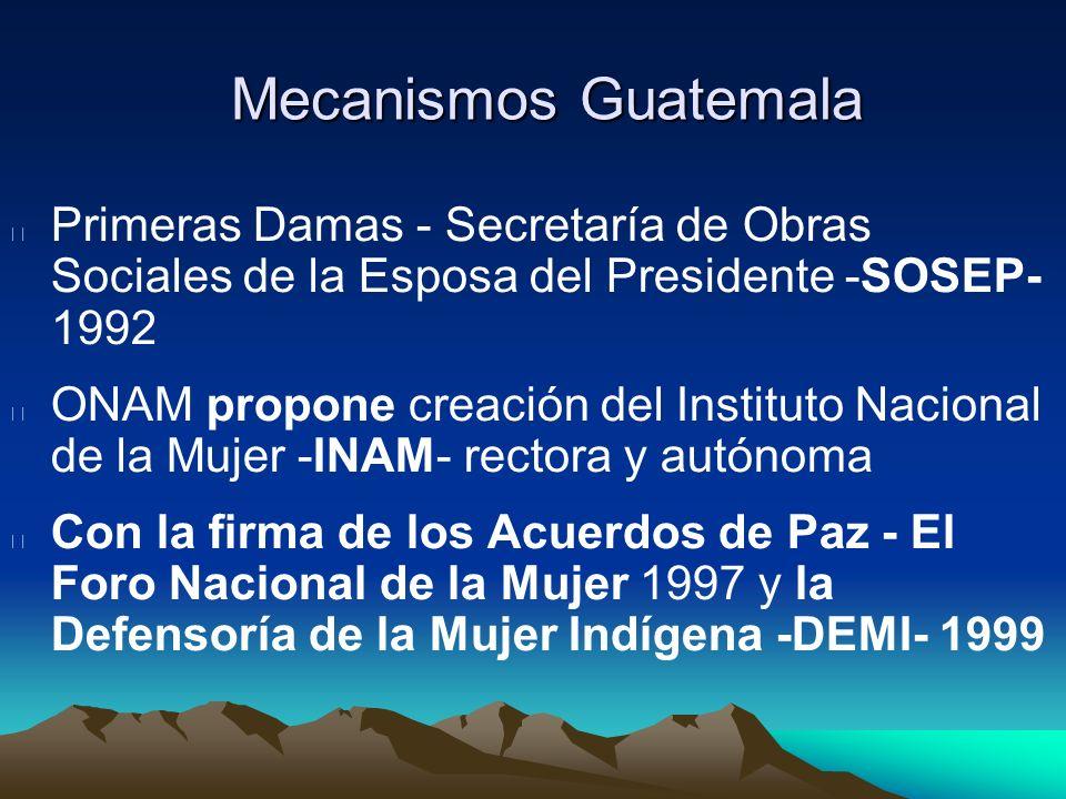 Mecanismos Guatemala Primeras Damas - Secretaría de Obras Sociales de la Esposa del Presidente -SOSEP- 1992 ONAM propone creación del Instituto Nacion