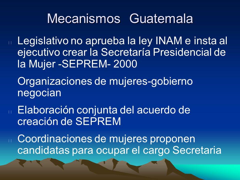 Mecanismos Guatemala Legislativo no aprueba la ley INAM e insta al ejecutivo crear la Secretaría Presidencial de la Mujer -SEPREM- 2000 Organizaciones