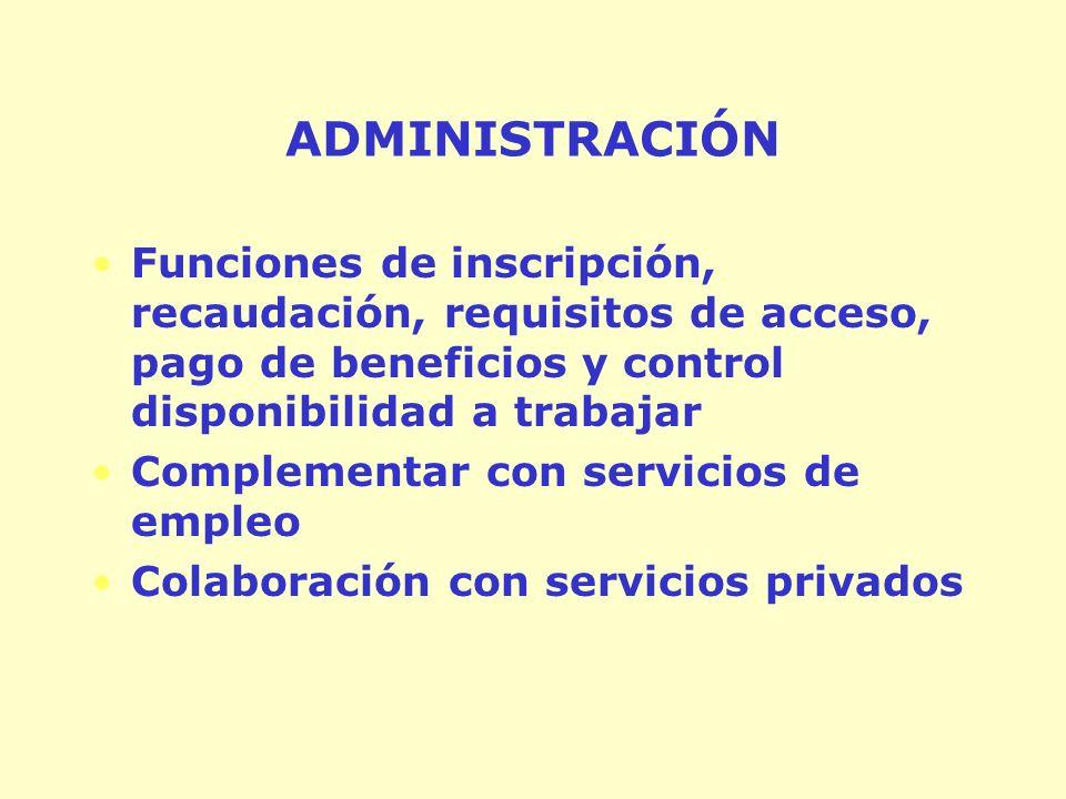 ADMINISTRACIÓN Funciones de inscripción, recaudación, requisitos de acceso, pago de beneficios y control disponibilidad a trabajar Complementar con servicios de empleo Colaboración con servicios privados