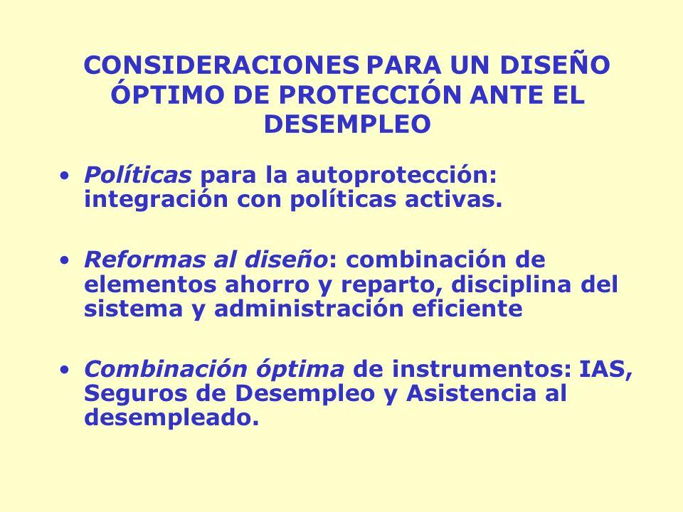 CONSIDERACIONES PARA UN DISEÑO ÓPTIMO DE PROTECCIÓN ANTE EL DESEMPLEO Políticas para la autoprotección: integración con políticas activas.