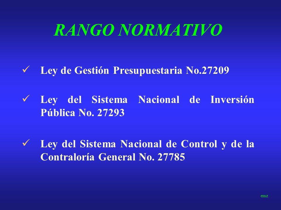RANGO NORMATIVO Constitución Política de 1993 Régimen Económico, Tributario y Presupuestal Ley de Transparencia y Prudencia Fiscal– Mayo de 2000 Marco