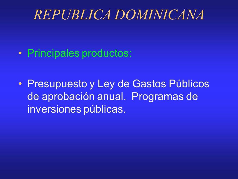 REPUBLICA DOMINICANA Rango normativo: Constitución de la República, reformada en 1994 Vigencia del Modelo: Sistema Nacional de Planificación (Ley 55 d