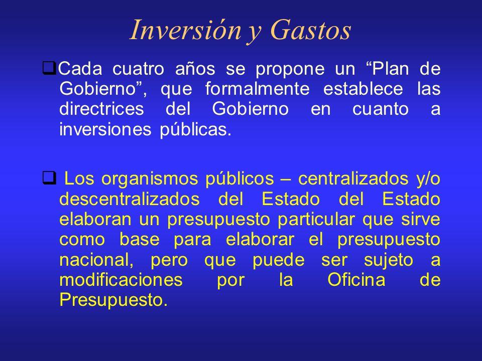 Inversión y Gastos La ley de Gastos Públicos es elaborada por la Oficina Nacional de Presupuesto en coordinación con el Consejo Nacional de Desarrollo