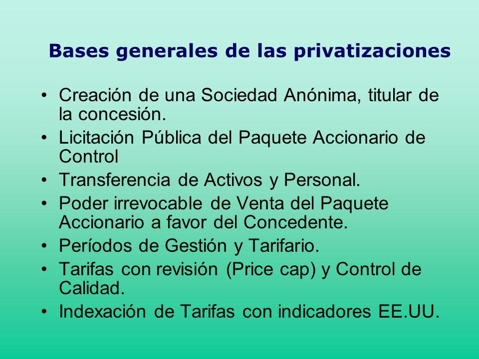 Bases generales de las privatizaciones Creación de una Sociedad Anónima, titular de la concesión. Licitación Pública del Paquete Accionario de Control