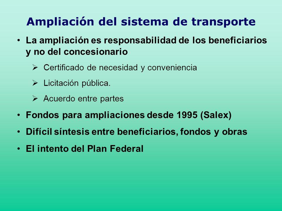 Ampliación del sistema de transporte La ampliación es responsabilidad de los beneficiarios y no del concesionario Certificado de necesidad y convenien