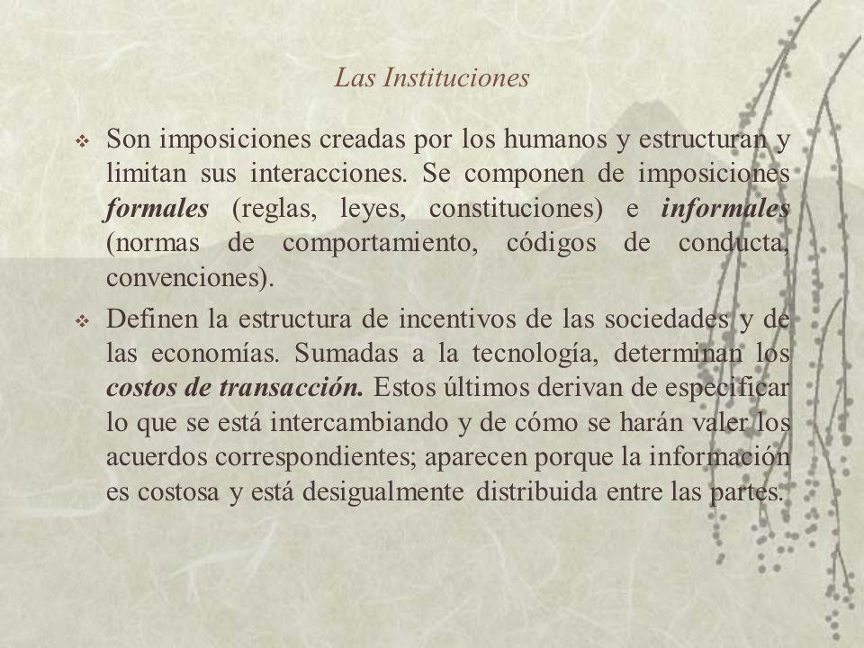 Las Instituciones Son imposiciones creadas por los humanos y estructuran y limitan sus interacciones. Se componen de imposiciones formales (reglas, le
